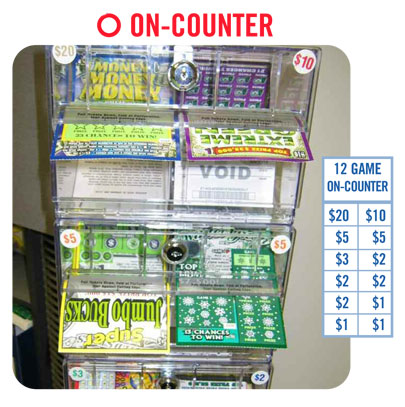 Image of on-counter Lottery ticket display case